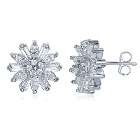 Astara 18k White Gold Plated Star Shaped Stud Earrings