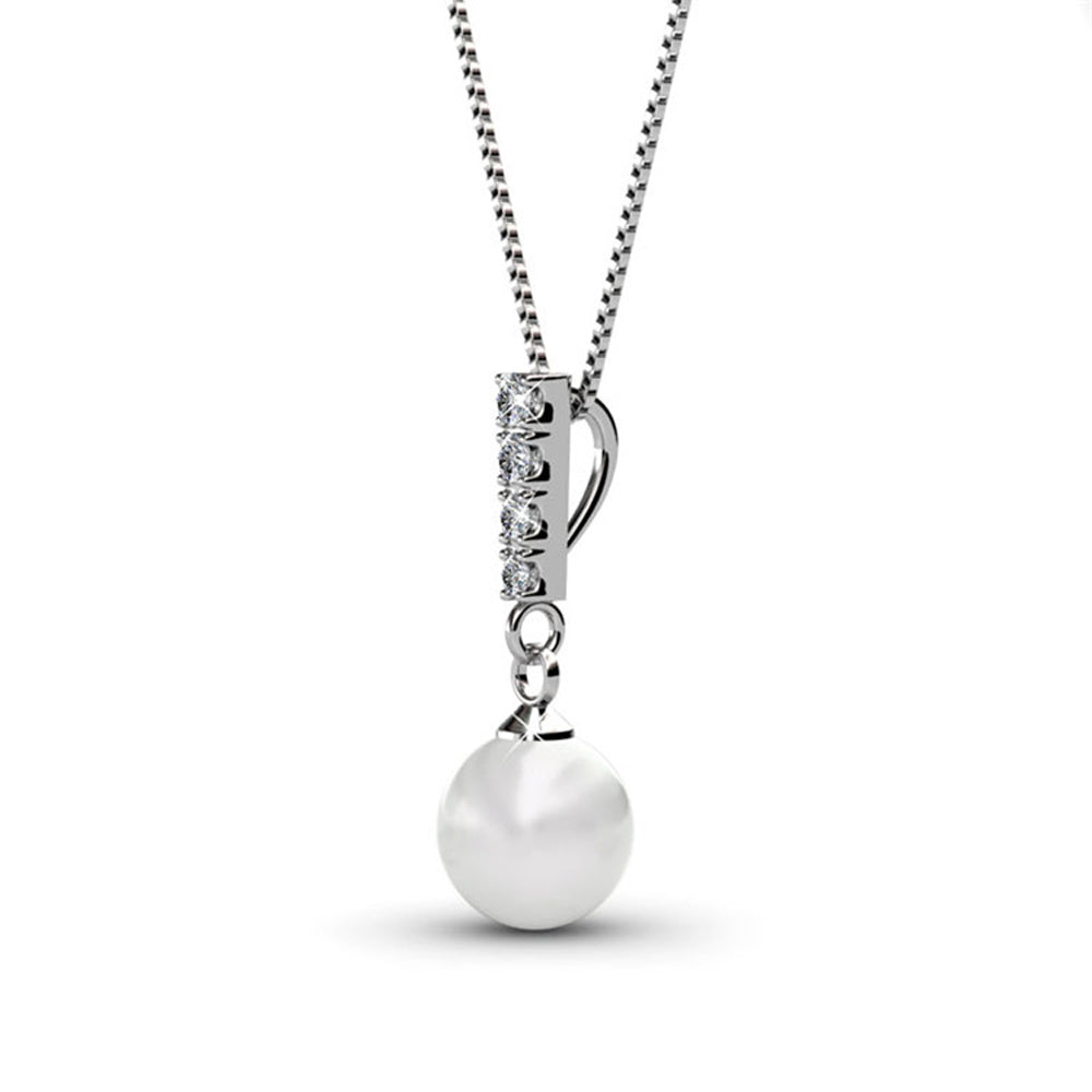 95eb8ff94d3b8 Gabrielle Pearl 18k White Gold Plated Swarovski Crystal Pearl Drop Pendant  Necklace and Earrings Jewelry Set