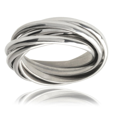 "Adrienne ""Open"" Silver Interlocking Statement Rings - Jewelry by Cate & Chloe"