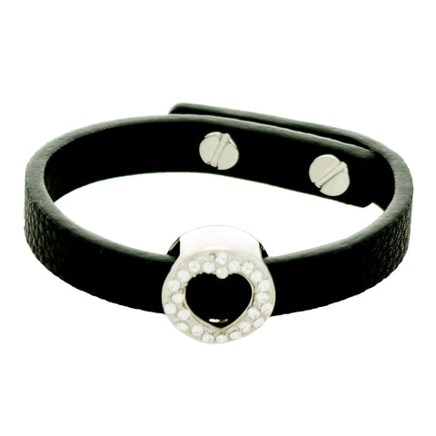 "Alexa ""Bold"" 18K Whilte Gold plated CZ Heart Charm Leather Bracelet"
