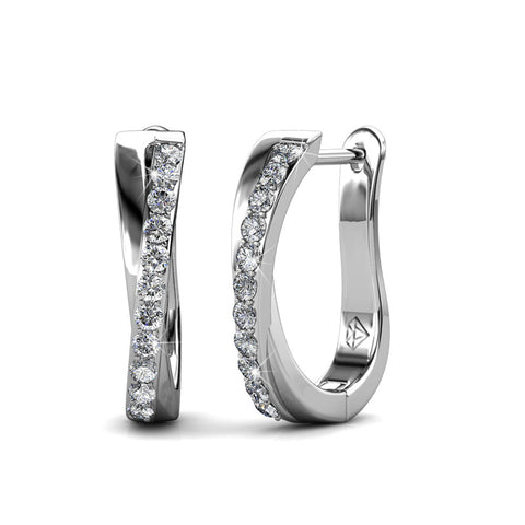 "Amaya ""Adventurous"" 18K White Gold Swarovski Hoop Earrings"