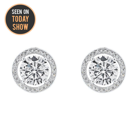 "Ariel ""Tempest"" 18k White Gold Halo Stud Earrings"