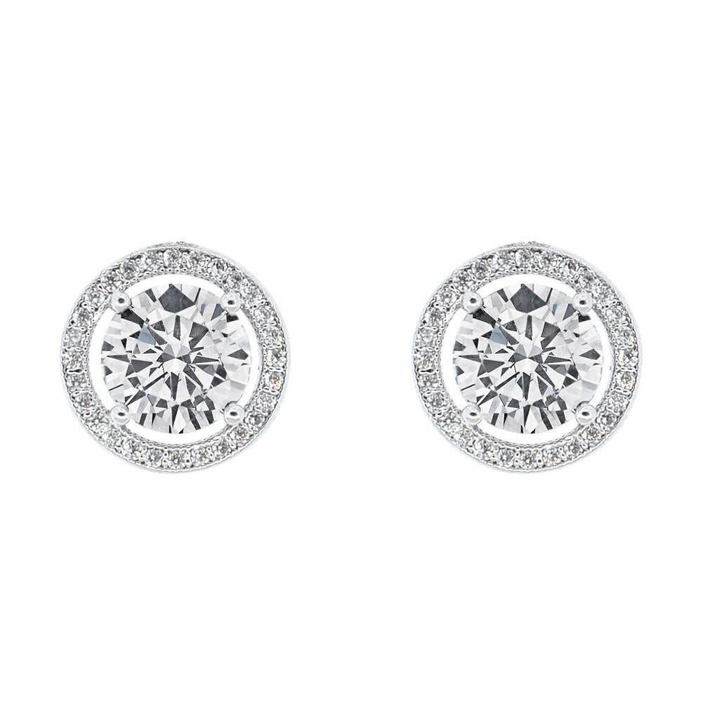 18K White Gold Plated Stud Earrings Round Brilliant Cut white CZ/'s Nickel Free