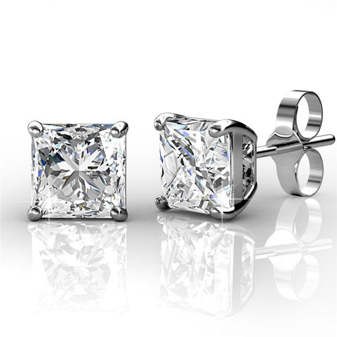 Quinn Princess Cut 18k White Gold Plated Swarovski Stud Earrings - Cate & Chloe