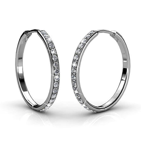 "Bianca ""Fair"" 18k White Gold Plated Swarovski Hoop Earrings - Cate & Chloe  - 1"