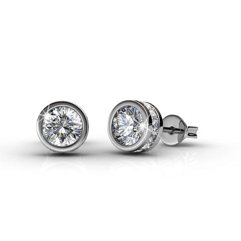 "Mae ""Serendipity"" 18k White Gold Swarovski Earrings"
