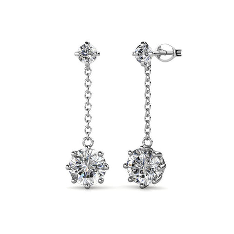 "Jessie ""Lively"" 18K White Gold Plated Swarovski Drop Earrings"