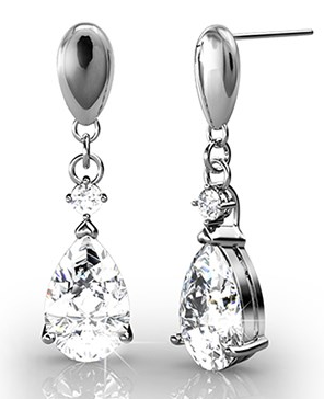 "Zoey ""Playful"" 18K White Gold Swarovski Earrings"
