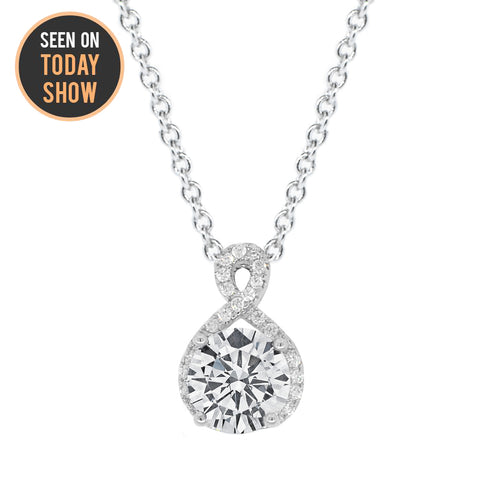 "Alessandra ""Vision"" 18k White Gold Plated Round Cut CZ Crystal Infinity Halo Pendant Necklace"