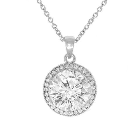 "Mariah 18k White Gold Round Cut CZ Halo Pendant Necklace with 18"" Chain - Silver"