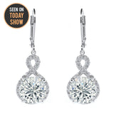 "Alessandra ""Vision"" 18k Gold Round Cut CZ Crystal Infinity Halo Drop Earrings"