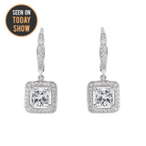 "Ivy ""Faithful"" 18k Gold Princess Cut CZ Crystal Halo Drop Earrings"