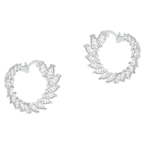 Adelyn 18k White Gold CZ Crystal Sideways Hoop Earrings