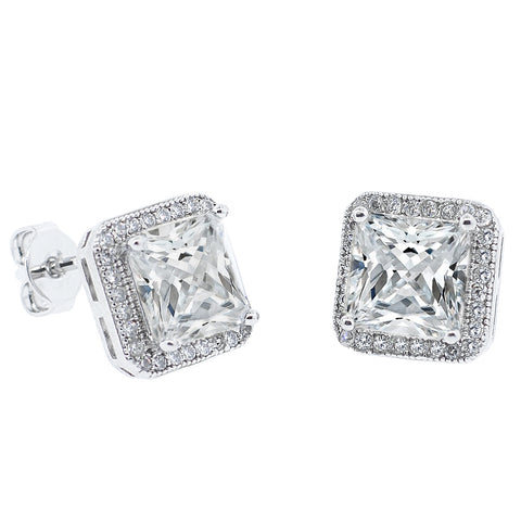 Norah 18K Gold Plated Princess Cut CZ Halo Stud Earrings