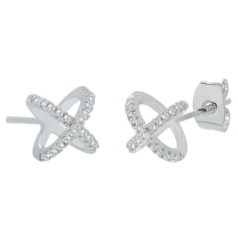 "Paige ""Exhilerating"" 18k White Gold X Ring Pave Stud Earrings"