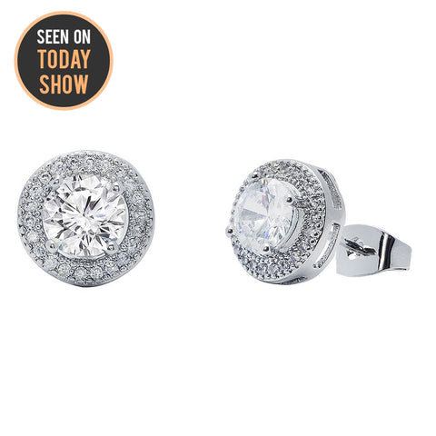 Cate & Chloe Mariah 18k White Gold Plated Round Cut CZ Crystal Halo Stud Earrings