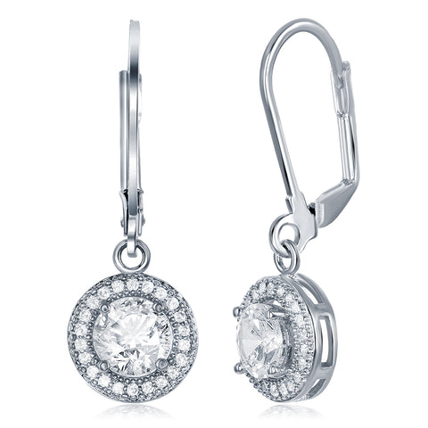 Juliana 18k Gold Round Cut CZ Halo Drop Earrings