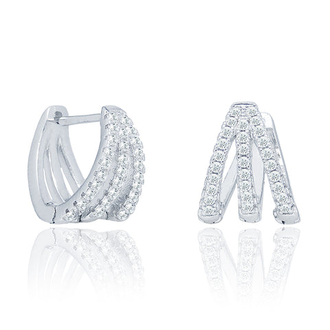 Aliyah 18k White Gold Round Cut CZ Crystal Pave Huggie Hoop Earrings