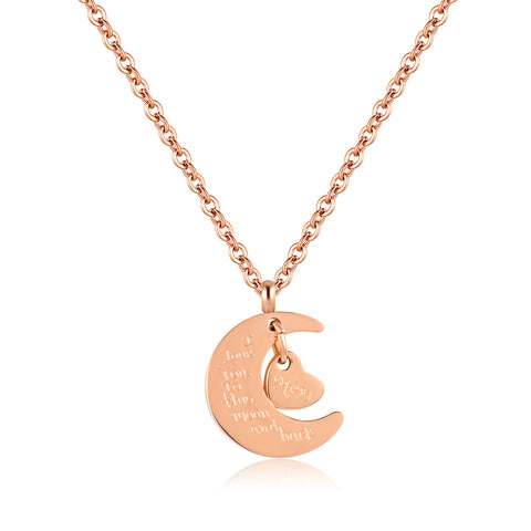 "Avita ""Love"" 18K Rose Gold Stainless Steel Half Moon Mom Heart Necklace - I Love you to the Moon and Back"