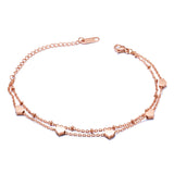 "Abigail ""Sweet"" 18k Rose Gold Stainless Steel Double Strand Heart Charm Bracelet"
