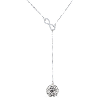 Sadie Crystal Infinity Silver Necklace - Cate & Chloe  - 1