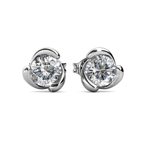 Cate & Chloe, Harmony Peaceful Unique Gold Stud Halo Earrings, 18k White Gold Plated Studs with Swarovski Crystals