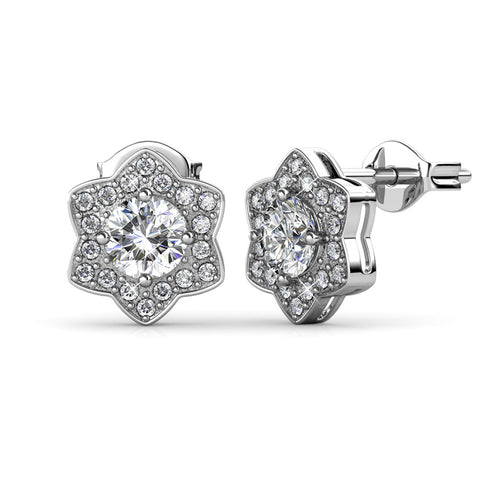 Poppy 18k White Gold Plated Stud Earrings