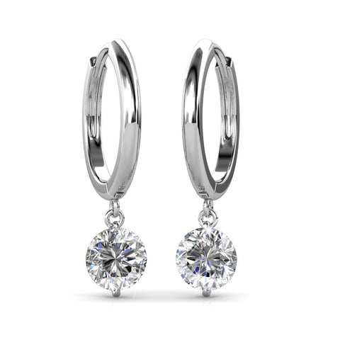 Cate & Chloe Georgia Enduring Gold Hoop Earrings, 18k White Gold Hoop Earrings with Dangling Round Cut Swarovski Crystals
