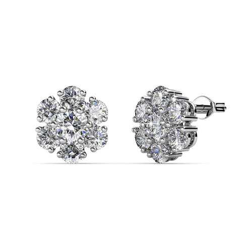 Cate & Chloe Maggie Pure White Gold Stud Earrings