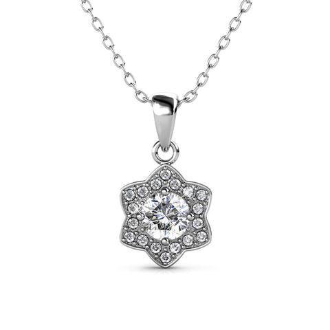 Poppy 18k White Gold Plated Swarovski Pendant Necklace