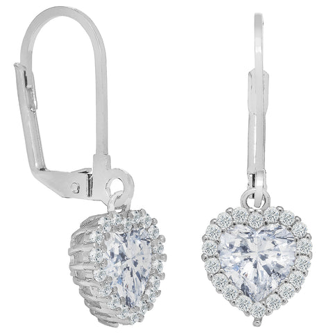 Cate & Chloe Amara 18k White Gold Plated Heart Shaped Halo Drop Earrings