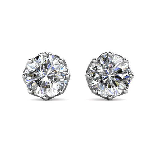 "Eden ""Pure"" 18K White Gold Round Swarovski Stud Earrings"