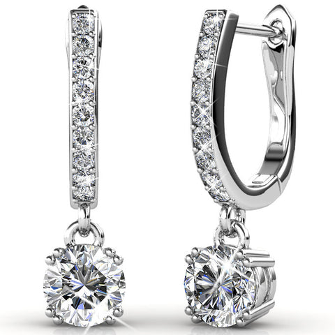 "McKenzie ""Charming"" 18k White Gold Plated Swarovski Earrings - Cate & Chloe  - 1"