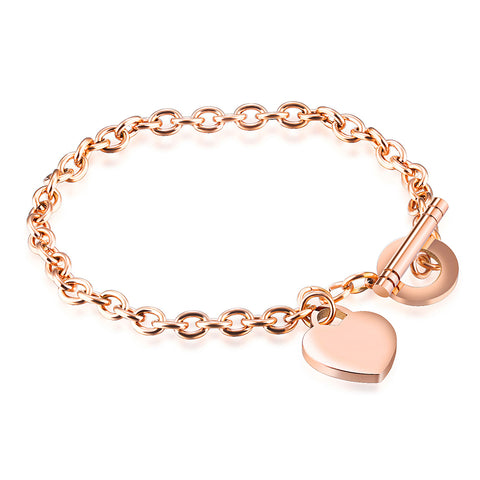 "Piper ""Loving"" 18K Rose Gold Heart Charm Bracelet"