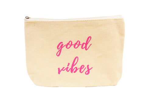 "Cate & Chloe ""Good Vibes"" Canvas Make Up Bag - Cate & Chloe  - 1"