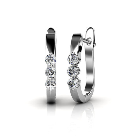 "Lana ""Elegant"" 18K White Gold 3 Stone Swarovski Hoop Earrings"