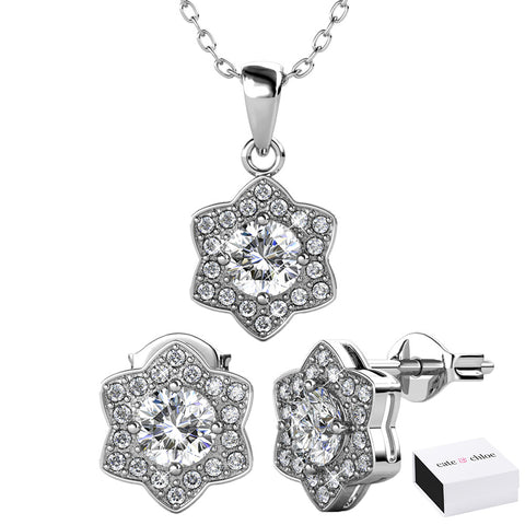 Poppy 18k White Gold Plated Swarovski Pendant Necklace & Stud Earrings Set