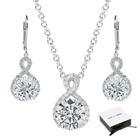 "Alessandra ""Vision"" 18k White Gold CZ Infinity Drop Earrings & Necklace Jewelry Set"