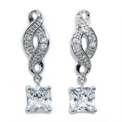 "Earrings,Jewelry - Iris ""Noble"" 18k White Gold Infinity Drop Earrings"