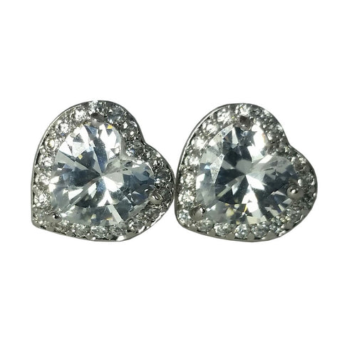 "Earrings, Jewelry, Silver - Tory ""Cherished"" Diamond Simulated Heart Stud Earrings"