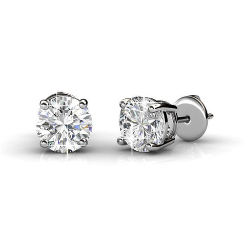 "Earrings,Jewelry,Swarovski - Ally ""Noble"" Sterling Silver 18k White Gold Plated Swarovski Stud Earrings"