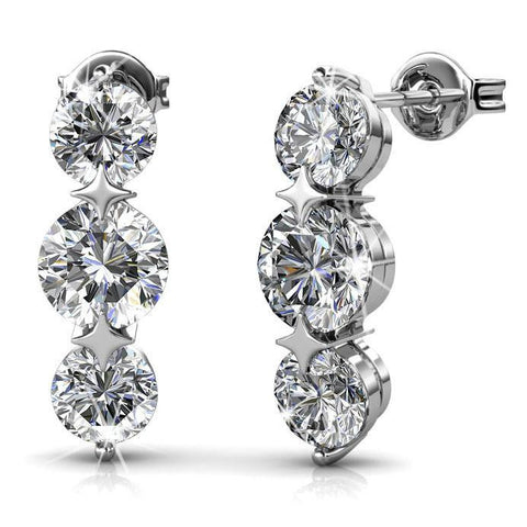 "Earrings,Jewelry,Swarovski - Ellie ""Light"" 18k White Gold Plated Swarovski Earrings"