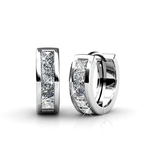 "Earrings,Jewelry,Swarovski - Giselle ""Promise"" 18k White Gold Swarovski Hoop Earrings"