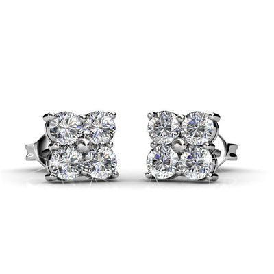 "Earrings,Jewelry,Swarovski - Rae ""Brilliance"" 18k White Gold Swarovski Studs"