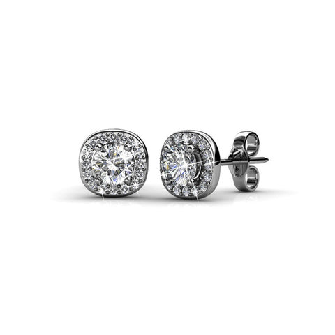 "Earrings,Jewelry,Swarovski - Ruth ""Protector"" 18k White Gold Swarovski Studs"