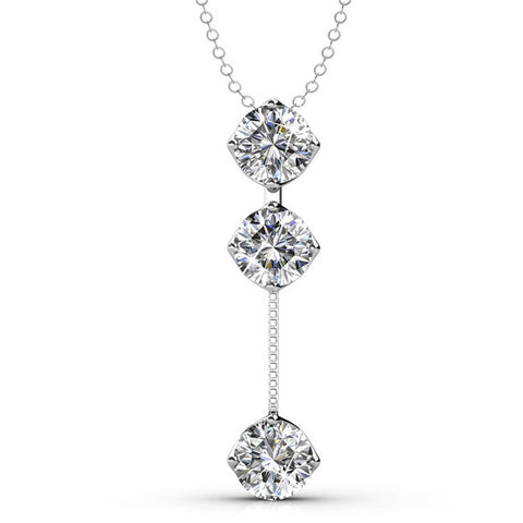 "Earrings,Jewelry,Swarovski - Sloane ""Hero"" Sterling Silver 18k White Gold Plated Swarovski Drop Necklace"
