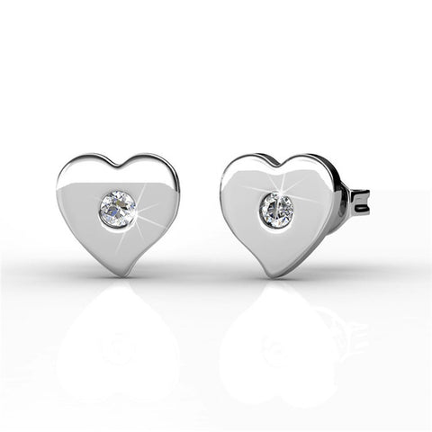 Earrings,Jewelry,Swarovski - Vanessa Petite Heart 18k White Gold Swarovski Stud Earrings