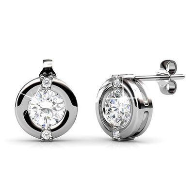 "Earrings,Jewelry,Swarovski - Zara ""Radiant"" Sterling Silver 18k White Gold Plated Swarovski Stud Earrings"