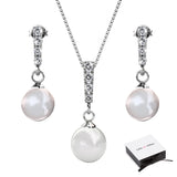 Gabrielle Pearl 18k White Gold Plated Swarovski Crystal Pearl Drop Pendant Necklace and Earrings Jewelry Set