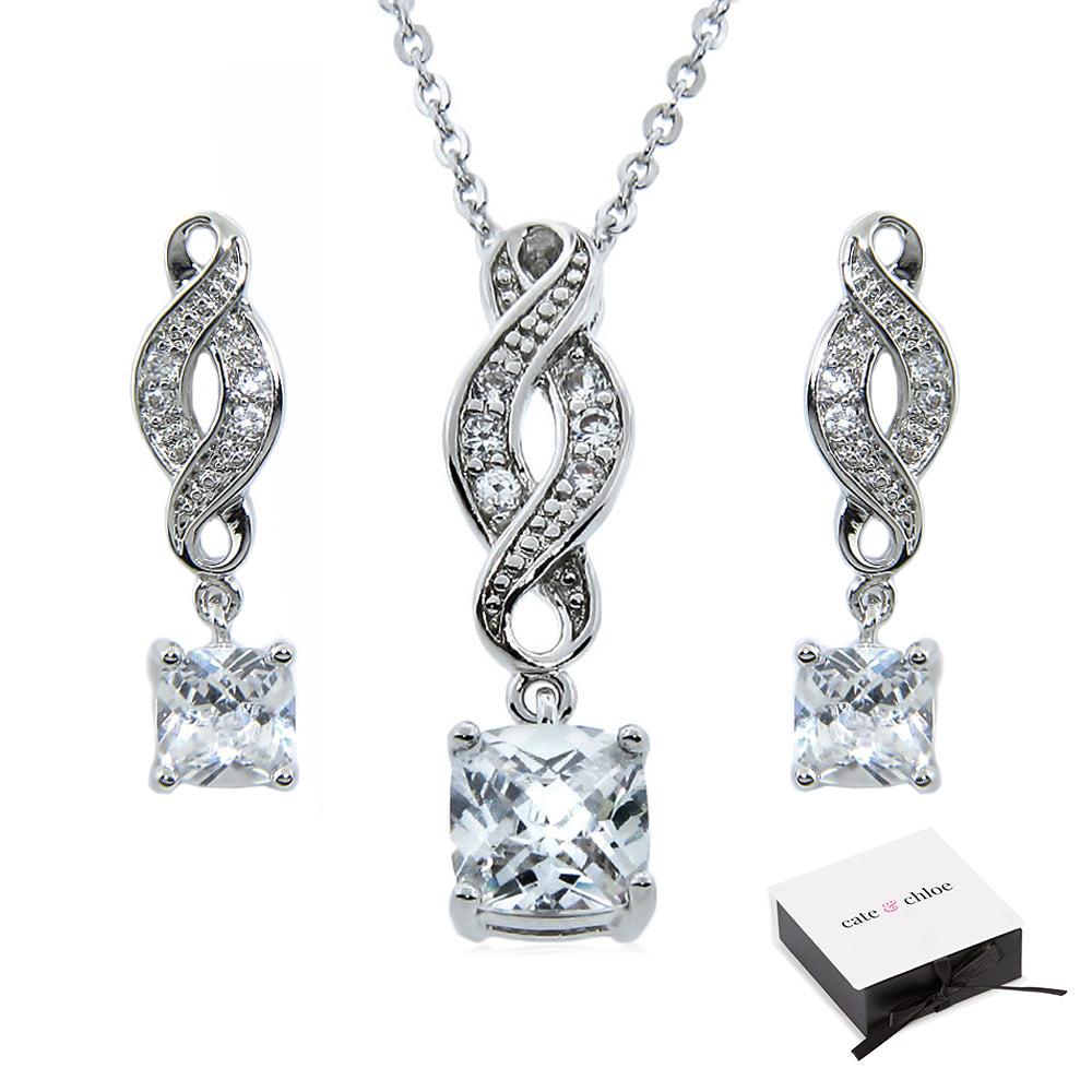 "Iris ""Noble"" 18k Gold Infinity Necklace/Earrings Jewelry Set"